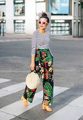 Stripes + Tropical Print