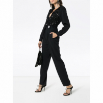 Alessandra Rich Sequin Embellished Lace Wool Blend Jumpsuit - Preto