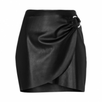 Amaro Feminino Saia Mini Leather Com Argola, Preto