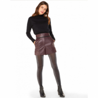 Amaro Feminino Shorts De Leather Cintura Alta, Roxo