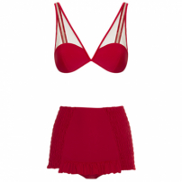 Biquini Hot Pants Pin Up Tule Vermelho Charlotte Olympia X Adriana Degreas