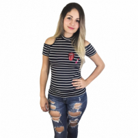 Blusa Cacharrel Cabide Fashion Boca Preto