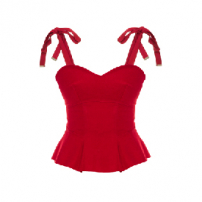 Blusa Corset Wool Red Framed