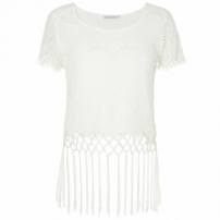 Blusa Cropped Costume Macramê - Off White