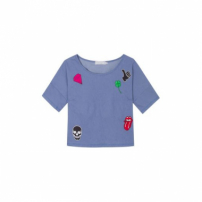 Blusa Cropped Patches Market 33 - Azul