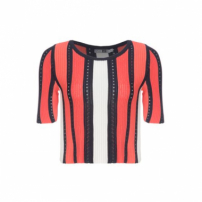 Blusa Cropped Tricot Stripes Pop Up Store - Laranja