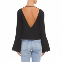 Blusa Decote V Manga Barra Animale - Preto