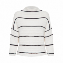 Blusa Femiina Pullover Cropped Eco Striped - Off White