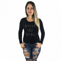 Blusa Manga Longa Cabide Fashion Trapézio You Preto