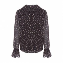 Blusa Ml Gola Franzida Vi And Co. - Preto