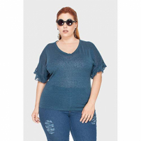 Blusa New Antropology Babados Plus Size Azul-50/52