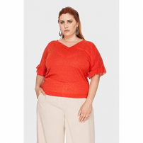 Blusa New Antropology Babados Plus Size Telha-48/50