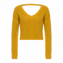 Blusa Tricot Cropped V - Amarelo