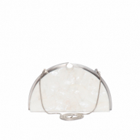 Bolsa Clutch Meia Lua Madrepérola Metal - Off White