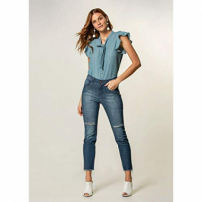 Calça Jeans Skinny Cropped Destroyer - 36