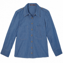 Camisa Jeans Cropped Mixed - Azul
