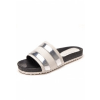 Chinelo Dafiti Shoes Slide Listras Branco/prata