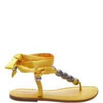 Flat Crystal Lace Up Golden Yellow | Schutz