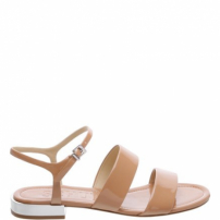 Flat Double Stripes Verniz Toasted Nut | Schutz