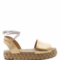 Flat Espadrille Couro Lace-Up Gold | Schutz