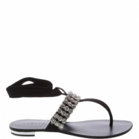 Flat Jewelry Lace Up Black | Schutz
