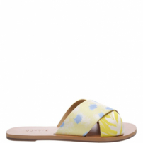 Flat Slide Cross Yellow Print | Schutz