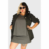Jaqueta Oversized Destroyed Plus Size Verde-48