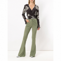 Le Lis Blanc Slim-Fit Flared Trousers - Green