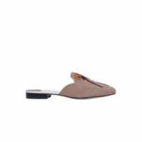 Mocassim Mule Suede Flower Animale - Marrom