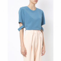Olympiah Blusa Cropped Recortes - Azul