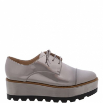 Oxford Plataforma Old Silver Color Line Black | Arezzo