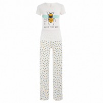 Pijama Longo Malha Bee - Off White