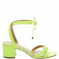 Sandália Block Heel Strings Neon Yellow | Schutz