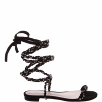 Sandália Rasteira Lace Up Chains Black | Schutz