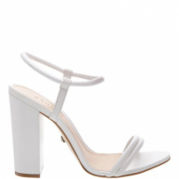 Sandália Salto Grosso Strings White | Schutz