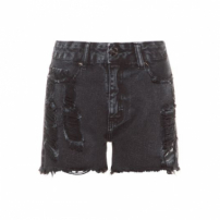 Short High Waist Boy Black Destroyed Canal - Preto