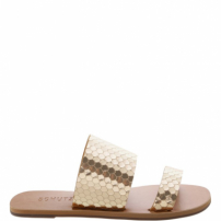 Slide Double Strap Bright Snake Gold | Schutz