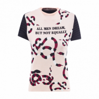 T-Shirt Tricot Frase - Bege
