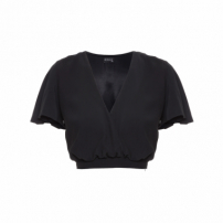 Top Cropped Crepe - Preto