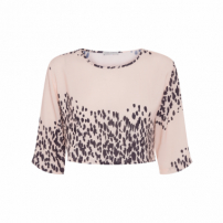 Top Cropped Feminino Estampado - Bege