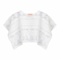 Top Cropped Flor Richelieu Branco Lolitta