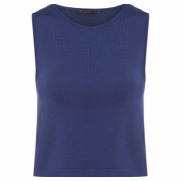 Top Cropped Tricot - Azul