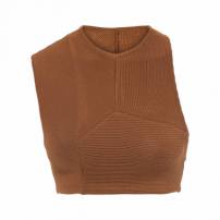 Top Cropped Tricot Multirecortes - Marrom