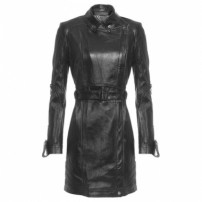 Trench Coat Couro Animale - Preto