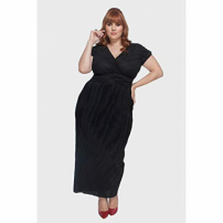 Vestido Pleat Longo Plus Size Preto-54/56